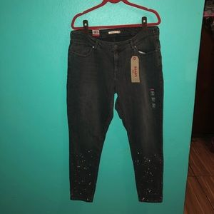 Levi's 711 skinny painters spotted legs size 18W